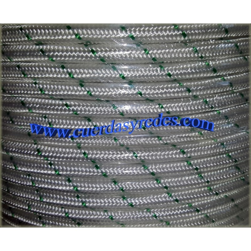 Cordon trenz.16 mm.100 mts. Blanco dist.verde