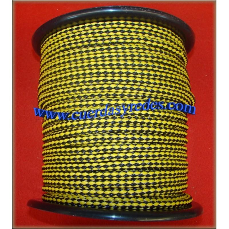 Cordon trenz.8 mm.100 mts. Amarilla-Negro
