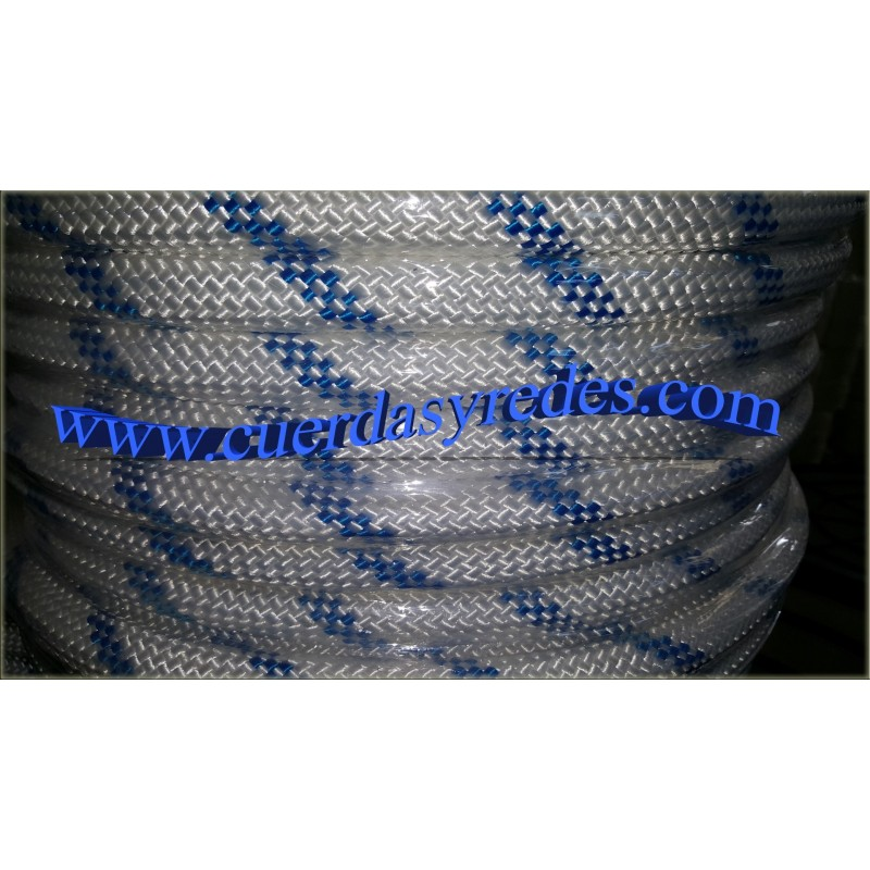 Cordon trenz.22 mm.100 mts. Blanco dist.azul