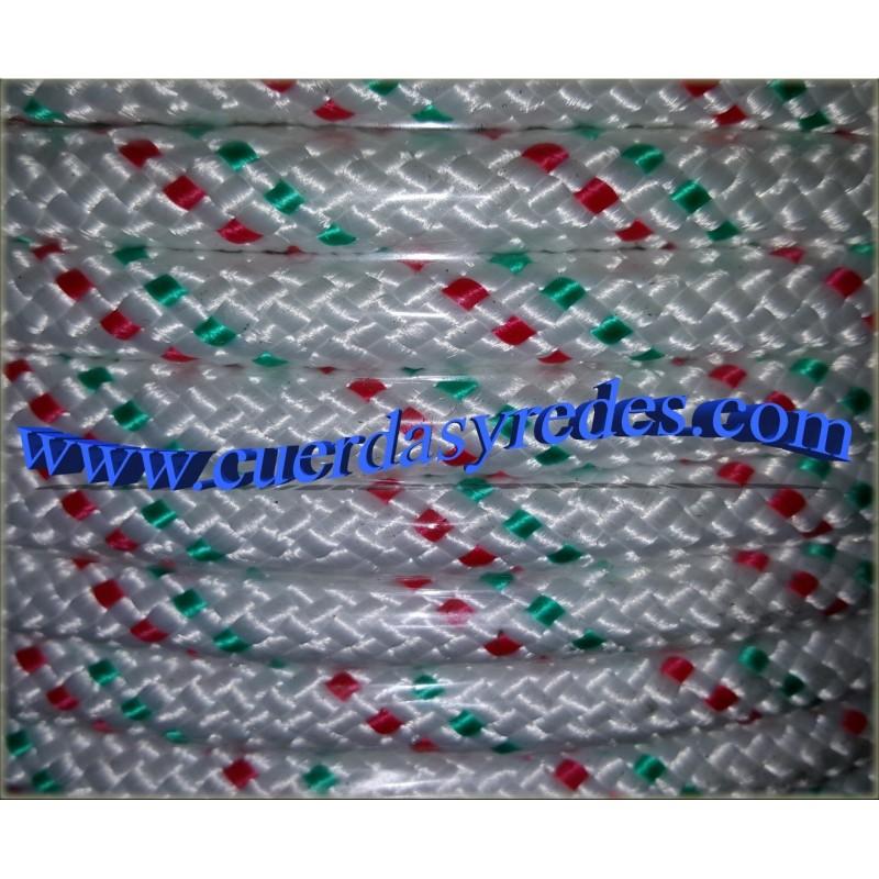 Cordon trenz.12 mm.Blanco dit.verde-rojo
