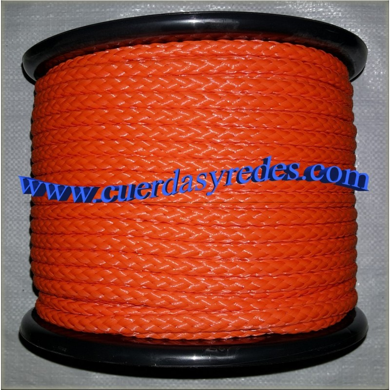 Cordon trenzado 8 mm.100 mts. Naranja