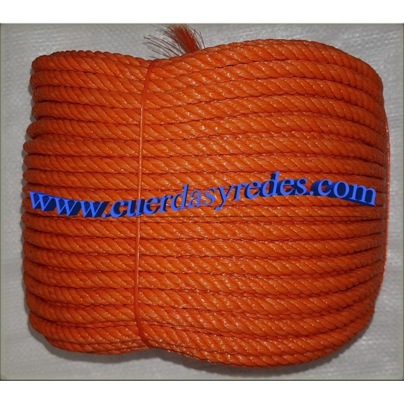 Cuerda Polietileno 8 mm.100 mts. Naranja